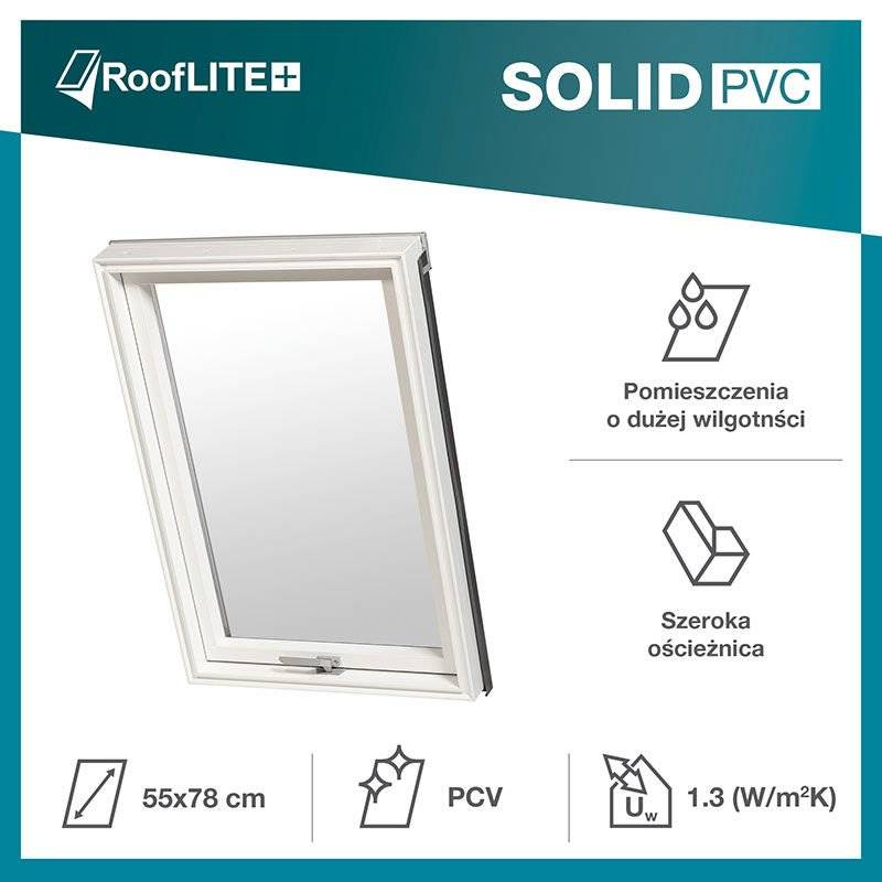 Okno dachowe RoofLITE+ Solid PVC 55x78